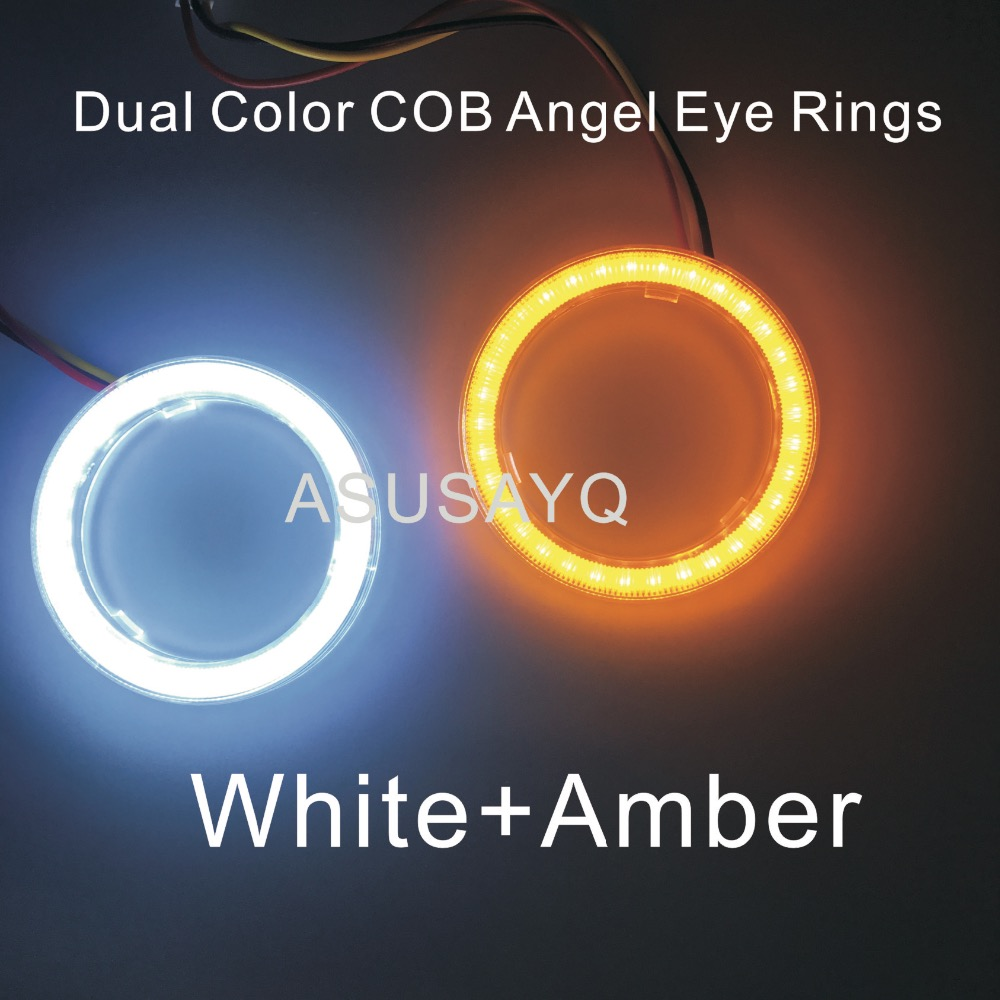 Prix pour 2 PCS Double Couleur Auto Phare Halo Anneaux Lumière Guide Angel Eye Car Styling COB SMD Ange Yeux Avec Couvercle Tourner LightWhite Ambre