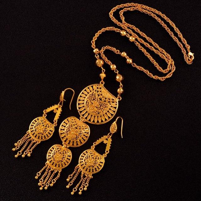 Anniyo 65 cm ארוך שרשרת עגילים לנשים חתונה אפריקאית הערבי דובאי מזרח התיכון סגנון מתנות #008212
