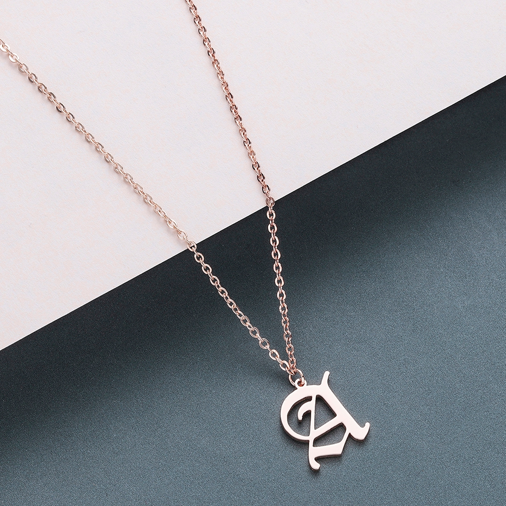Todorova Old English Custom Capital Initial A-Z Letter Pendant Necklace Men Vintage Font Personalized Necklace Women Jewelry 2