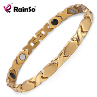 Rainso Fashion Titanium Magnetic Therapy 4 Elements Bracelets For Women Link Chain Bracelet For Health Gold