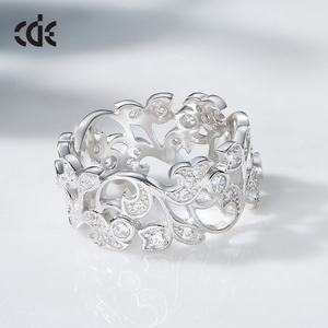 Image 3 - CDE 925 Sterling Silver 5mm Wide Ring Secret Garden Geometric Ring with Cubic Zirconia for Women Wedding Engagement Jewelry
