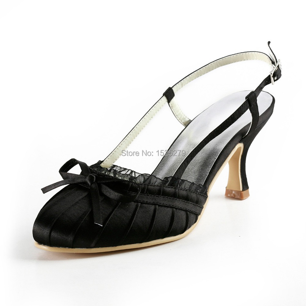 ФОТО EP2013 Women Shoes Bridal Black Prom Party Pumps Slingback Lace Trim Pleated Satin Buckles Wedding Shoes