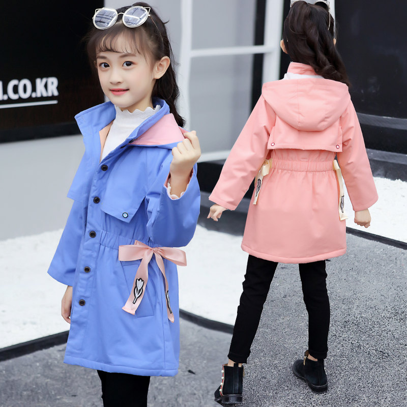 2019 Children   Trench   Coats New Fashion Children's Girls Clothes Outerwear & Coats Girls   Trench   Coat with Bow Children Kids Coats