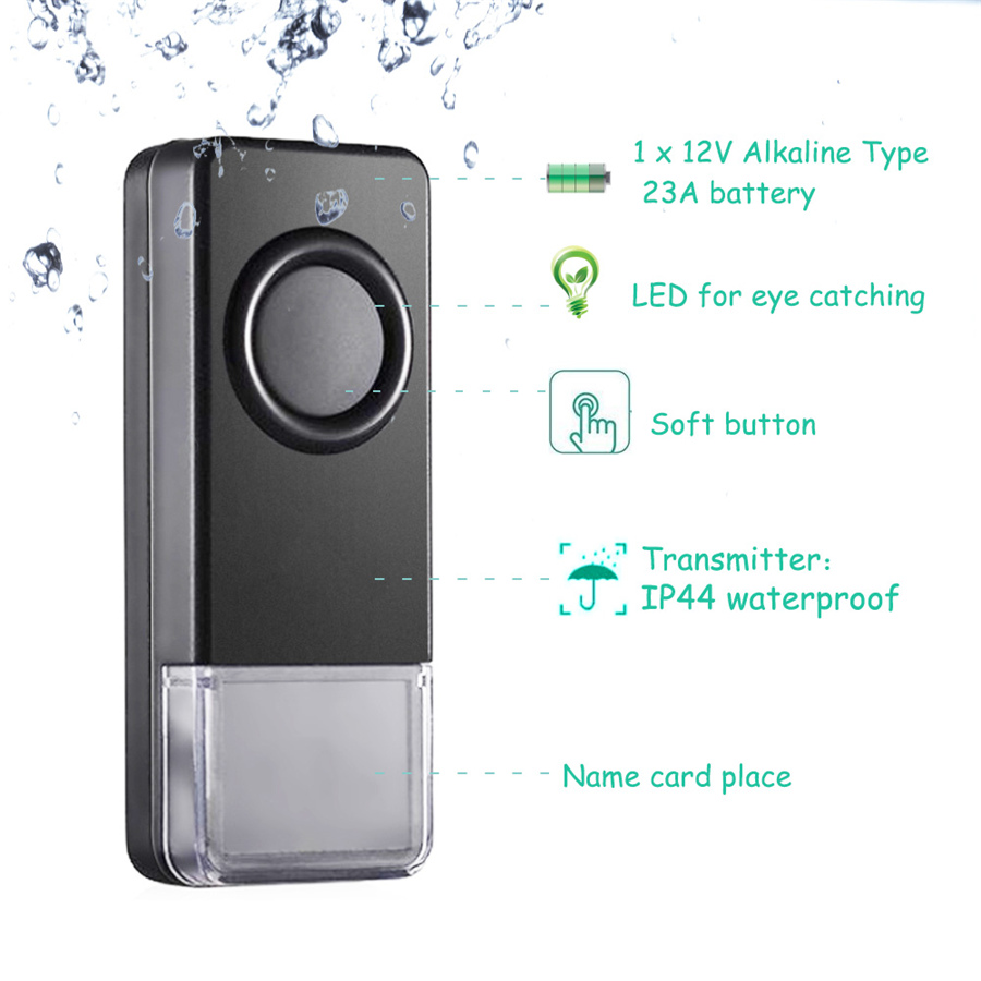 300M Remote Wireless Doorbell Waterproof Door bell US EU Plug 52 Melody 110DB 4 Volume black 1 Button 3 Receiver 03