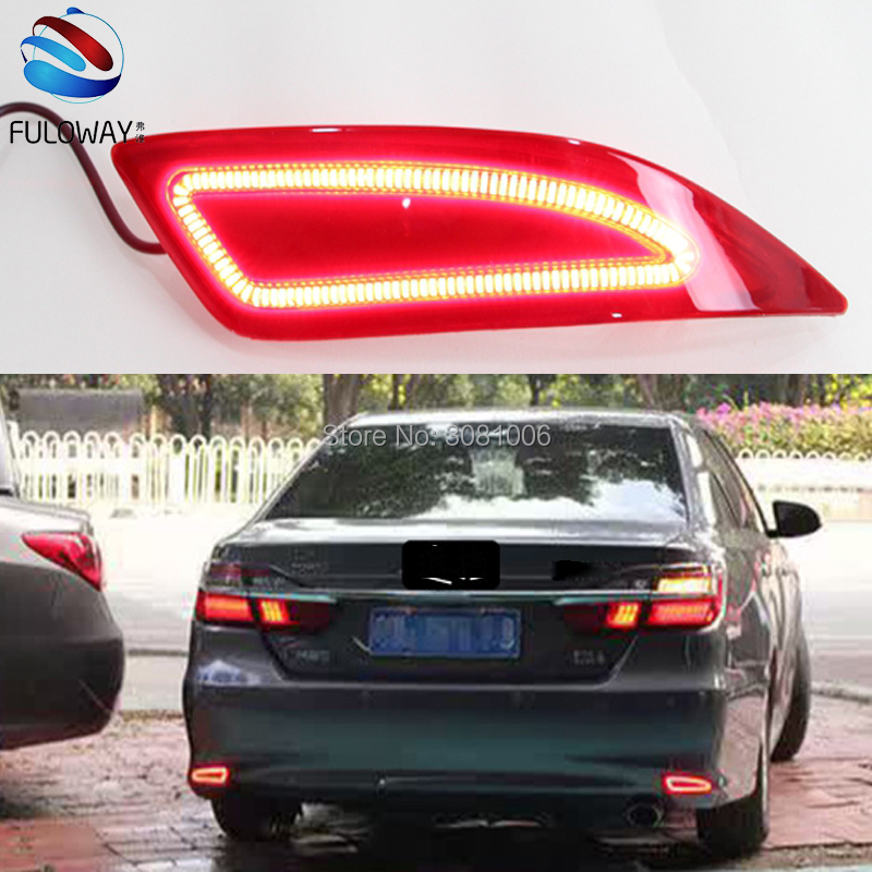 For Toyota Camry 15-16 LED Tail Light Assembly DRL Daytime Running Lights Multi-functions Rear Fog Lamp Bumper Brake Lights turn for opel astra h gtc 2005 15 h11 wiring harness sockets wire connector switch 2 fog lights drl front bumper 5d lens led lamp