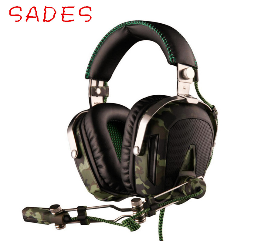 SADES A90 Stereo Deep Bass Surround Sound Headphone Noise Canceling with Retractable Microphone Luminous 6 Color Lights