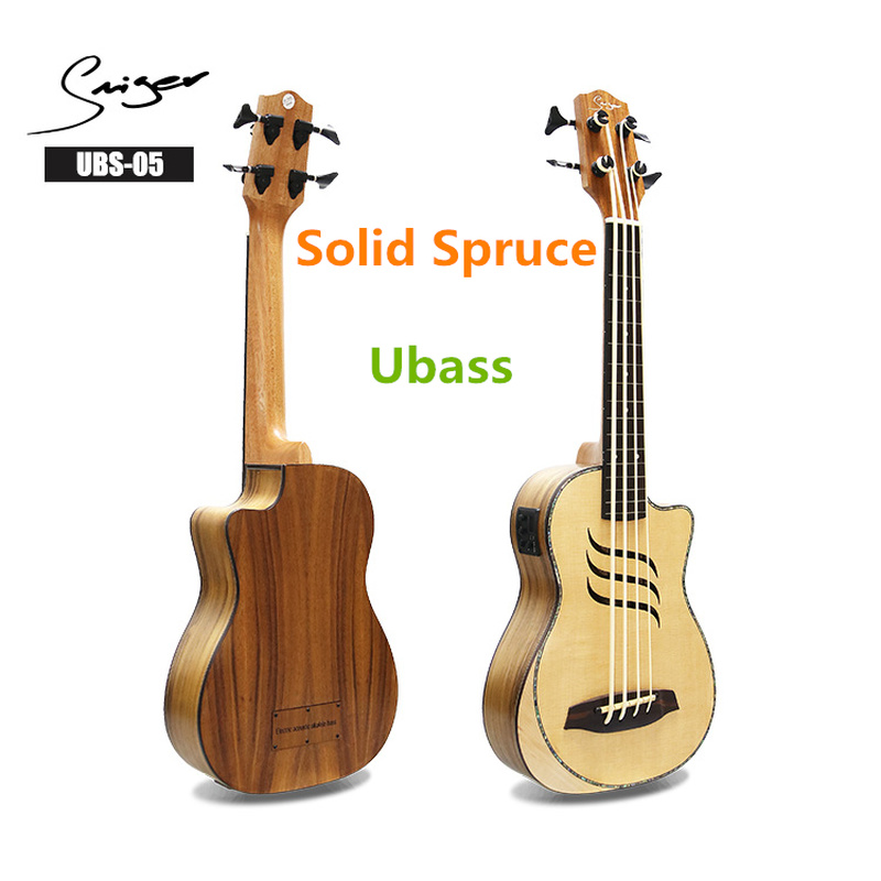 Electric Solid Spruce Fretless Ukulele Bass 30 Inches Ubass Guitar 4 Strings Mini UKU Electro Guitars Pickup Sculpture