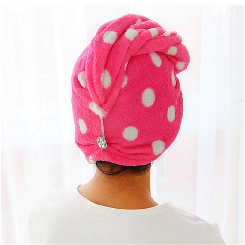 Twist Wrap Microfiber Hair Quick Drying Cap Turban Turbie Loop Towell Button Hat