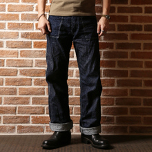 bronson mens high waist wide leg straight loose overalls vintage raw denim pants