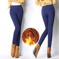 Мода 2016 Новый женский офис рабочие брюки Высокой хлопка стрейч дамы карандаш брюки черный синий красный женщин Высокой Талии брюки SC176