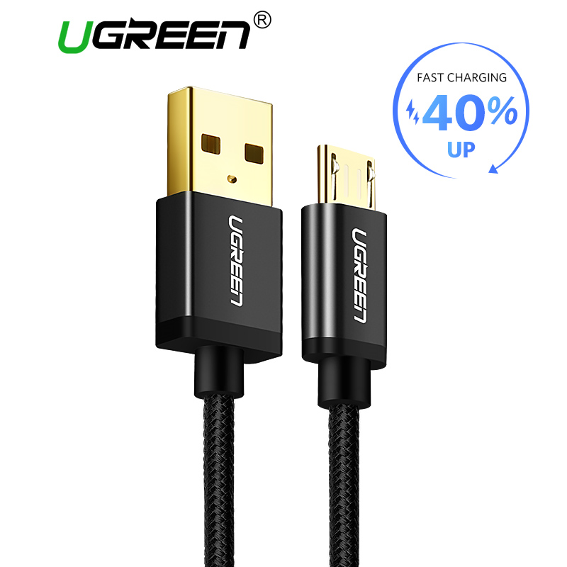 Ugreen Micro USB to USB Cable for Samsung S7 2A Nylon Fast Charge Data Cable Mobile Phone Cable for Xiaomi Huawei Micro USB Cord