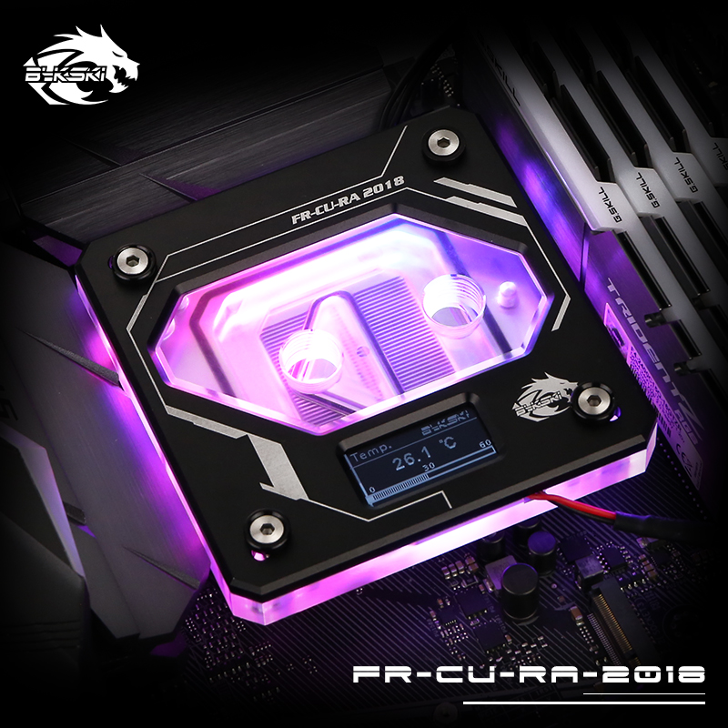 Bykski CPU Water Block use for INTEL LGA1150/1151/1155/1156 LGA2011 2066 X99 RGB 5V GND Aurora Light Temperature Display OLED