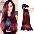 8A Ombre straight hair with closure 4 pcs 1b Burgundy Peruvian virgin hair with lace closure Ombre bundles with closure soft