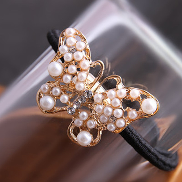 Imitation Pearl Crystal Butterfly Elastic Hairband