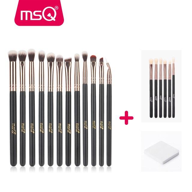 MSQ paleta de 6 piezas/12 piezas/18 piezas ojo profesional pinceles de maquillaje conjunto de sombra de ojos mezcla hacer cepillos suave pelo sintético pincel, maquiagem