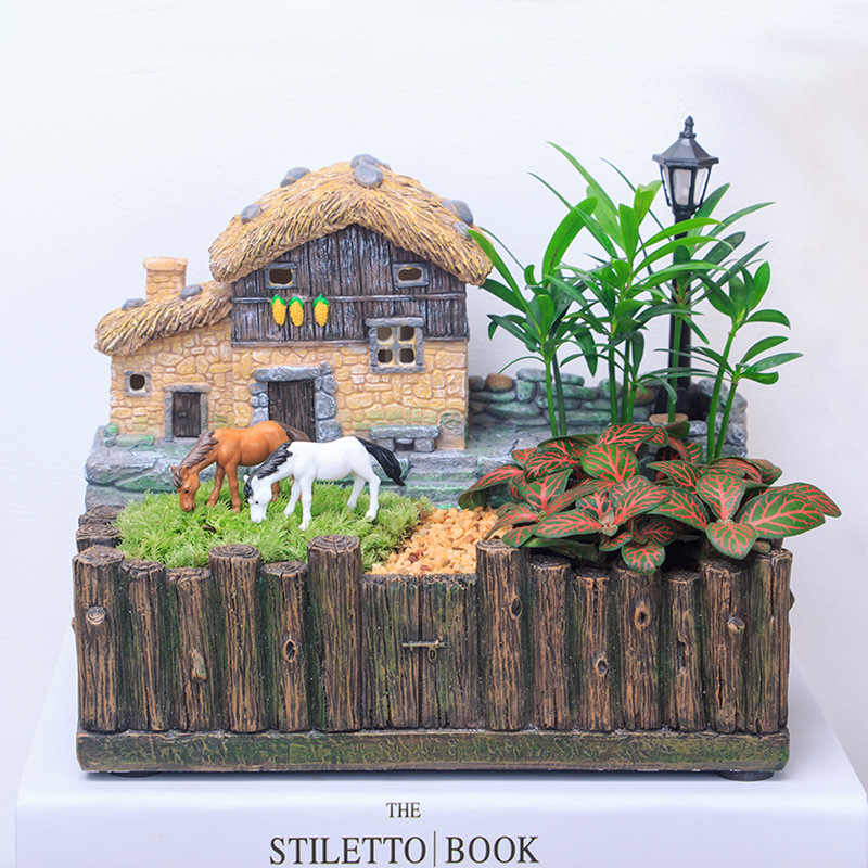 1 PC Cottage Garden Pot Kreatif Rumah Bentuk Pot Bunga Resin Pot Bunga Succulent Tanaman Pot Fairy Taman Bonsai Pot Yxyt