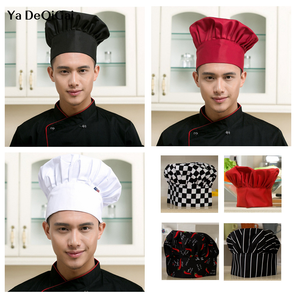 High Quality Cooking Adjustable Chef Hat Kitchen Baker Elastic Hat Catering Cooking Cap Striped Plain Hats Working Cap Chef Hat