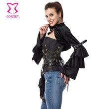 Black Velvet Layered Ruffle Long Flare Sleeve Gothic Jacket Women Coats Steampunk Jaqueta Feminina 2017 Spring