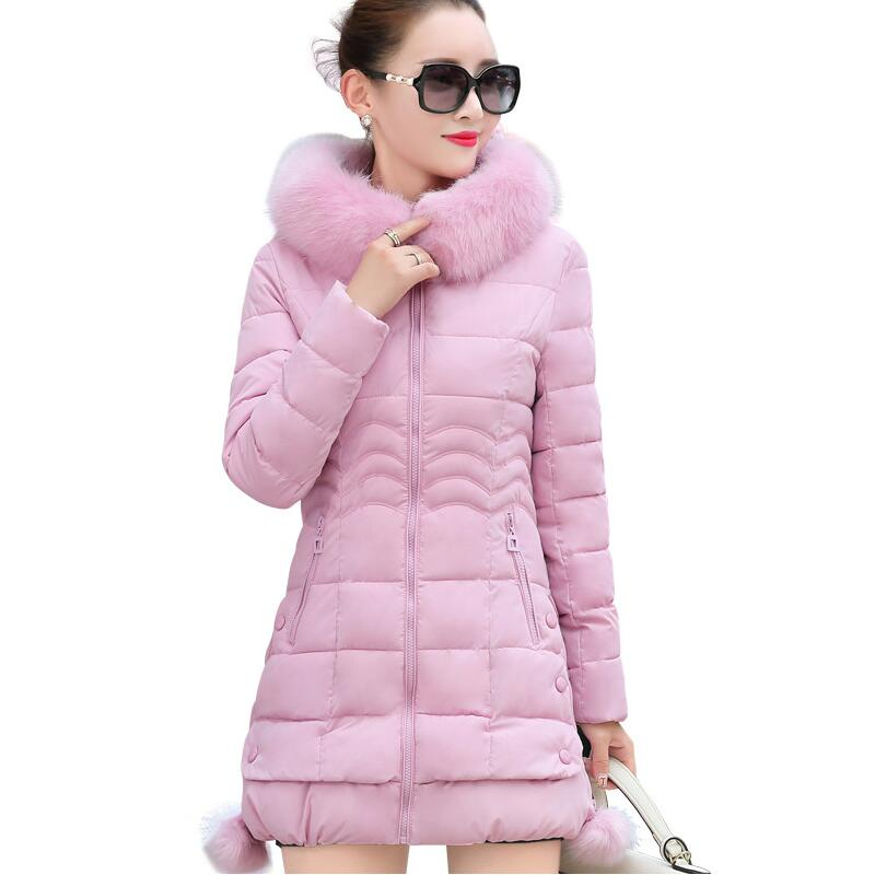 2017 Latest Winter Women Parkas Fashion Hooded Thick Super warm Medium long Coat Solid color Slim Big yards Jacket LADIES176 2017 new winter fashion women parkas hooded thick super warm medium long coat casual slim big yards cotton padded jacket nz308