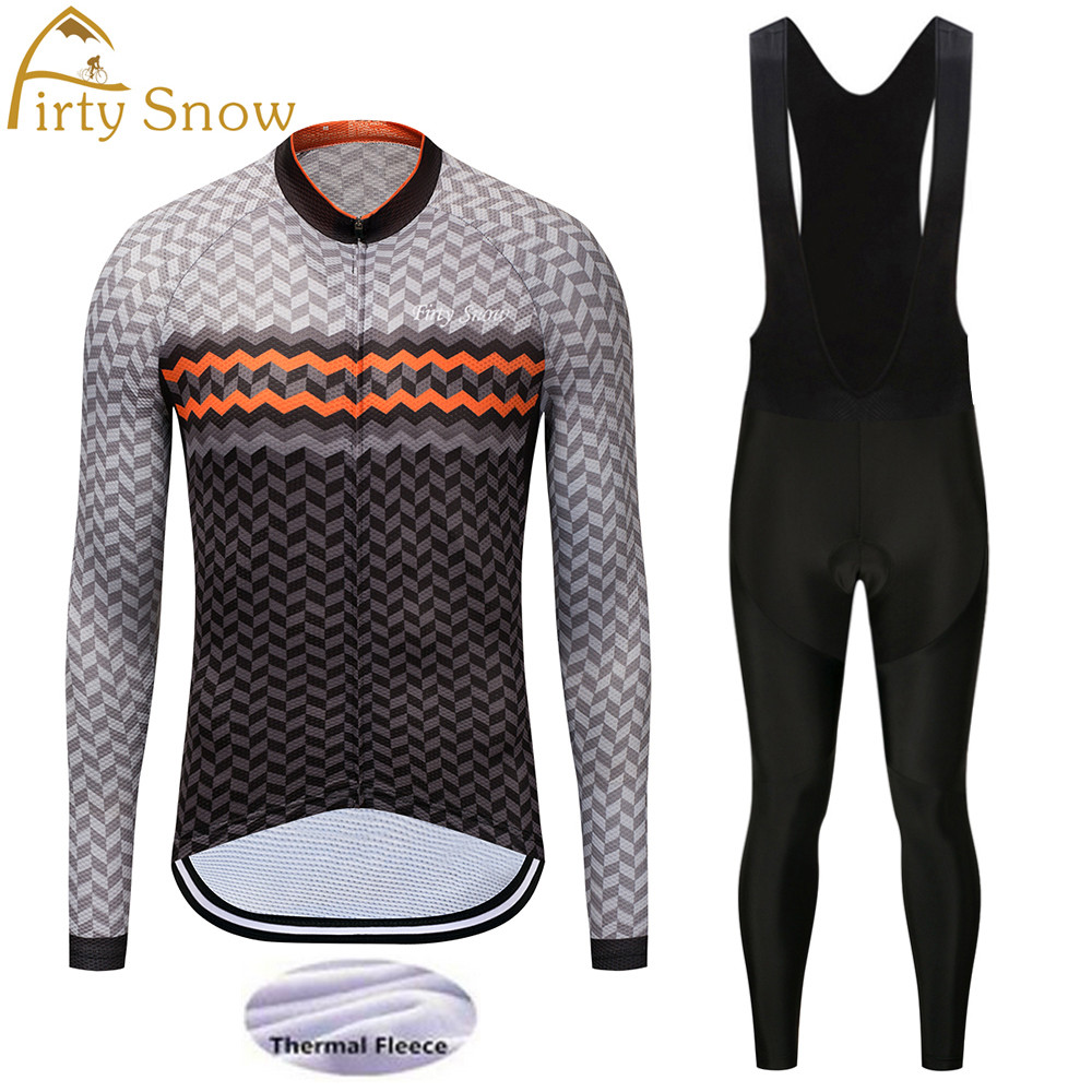 Firty Snow cycling sets winter thermal fleece cycling jersey and pants mountain bike clothing long sleeve pro cycling clothing