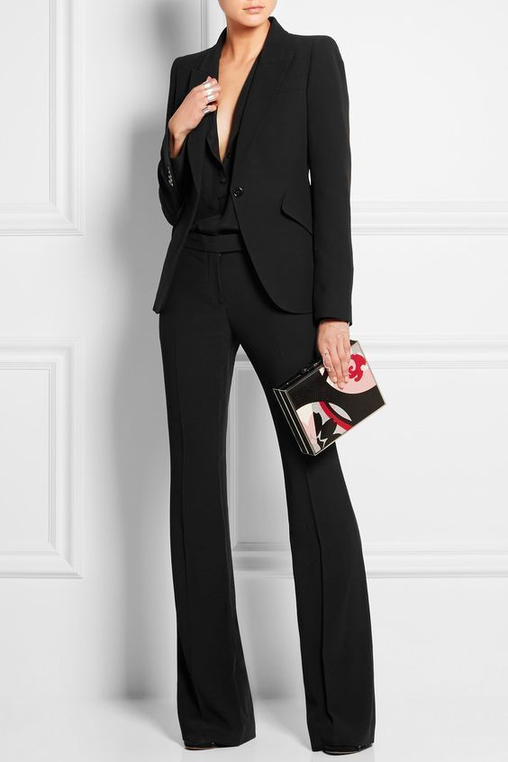 Black Two Piece Women Blazer Suit Set Work Suit Set