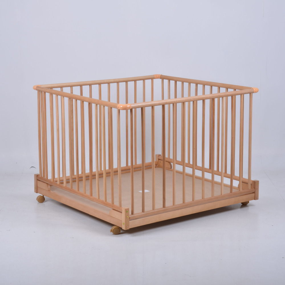 Fashion Solid Wood Baby Multifunctional Game Fence Bed Height Adjustable Folding Game Fence Bed