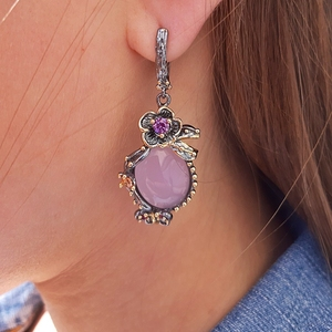 Image 3 - DreamCarnival 1989 Hot Pick Drop Earrings for Women Wedding Party Dangle Earings Pink Opal Stone Fashion Accessories Gift WE3878