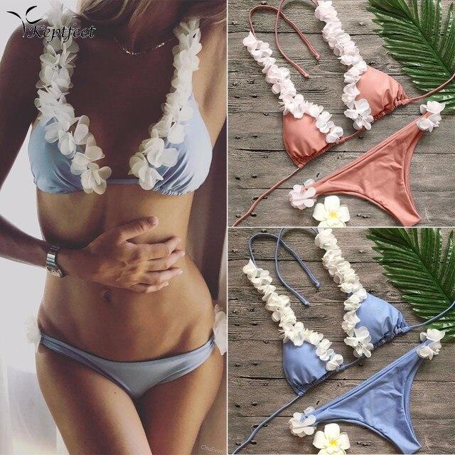7dc426b829 Brazilian Bikini Low Waist Bottom 3D Flower Halter Swimwear Cute Petals  Bikini Set Maillot De Bain Bathing Suit Swimsuit Women