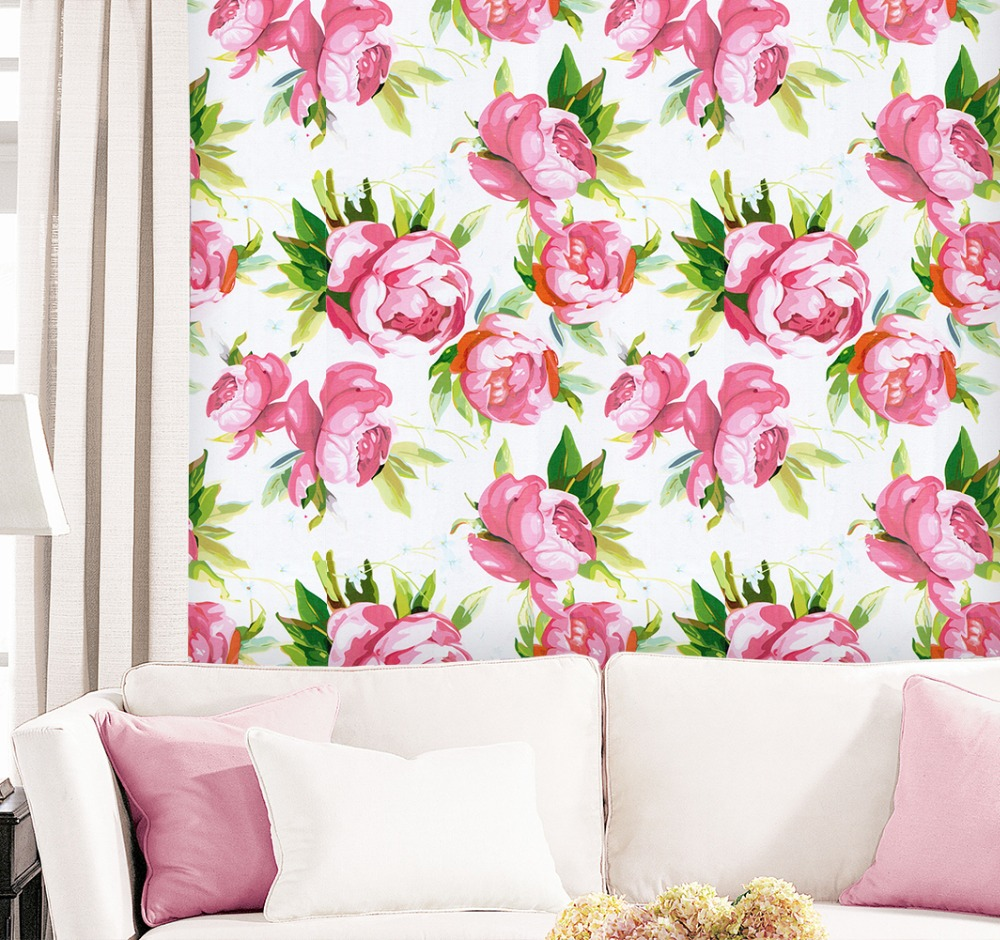 HaokHome 3d Floral Wallpaper Self Adhesive White/Pink Contact Paper For kids room Home Bedroom Living room Wall Decoration modern pink blue white stripe wallpaper for kids room baby boy girl bedroom wall paper self adhesive non woven wallpapers qz037