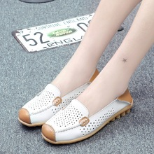 New Women Real Leather Shoes Moccasins Comfortable Mother Loafers Soft Leisure Flats Female Driving Casual Footwear Size 35-44 new women loafers leather shoes casual moccasins female driving fashion comfortable soft leisure women flats