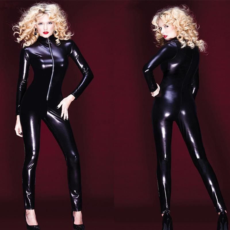 Wholesale Retail 2016 New Black Catwoman Costume Women Faux Leather <font><b>Catsuit</b></font> <font><b>Sexy</b></font> <font><b>Erotic</b></font> Long Sleeve Front Zipper <font><b>Catsuit</b></font> S-XXL image