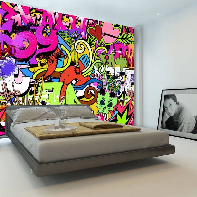 Diy Boy Bedroom Ideas Bedroom Wallpaper Designs Bedroom Sets Decorating Ideas Brown Black And White Bedroom: Graffiti Boys Urban Art Wallpaper 3D Photo Wallpaper