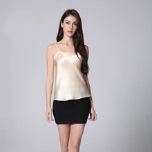 100% Silk Satin Camisole Natural Silk Charmuse Satin Fabric Shiny Color Silk Fabric Women Underwear Free Size Summer Tops