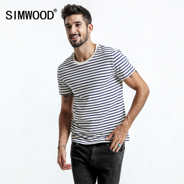 848f2184c502a SIMWOOD 2018 Summer Autumn New Short Sleeve T-Shirts Men Slim Fit Striped  100% Cotton Breton Top Vintage T Shirt TD017107