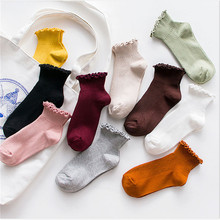 Fashion Lace Ruffles Soft Cotton Women Socks Top Quality Solid Color Cute