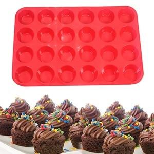 Molde de cozimento de silicone antiaderente de 24 copos para muffins  cupcakes e mini bolos|baking cake mold -