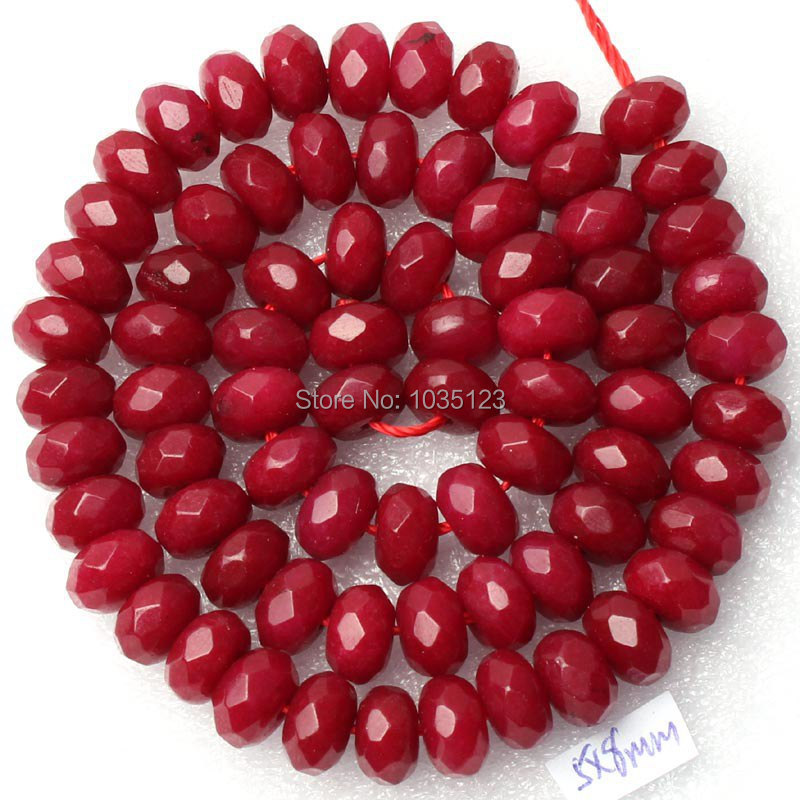 Free Shipping 5x8mm Faceted Rondelle Shape Deep Red Color Jades Loose Beads Strand 15 DIY Creative Jewellery Making w2054