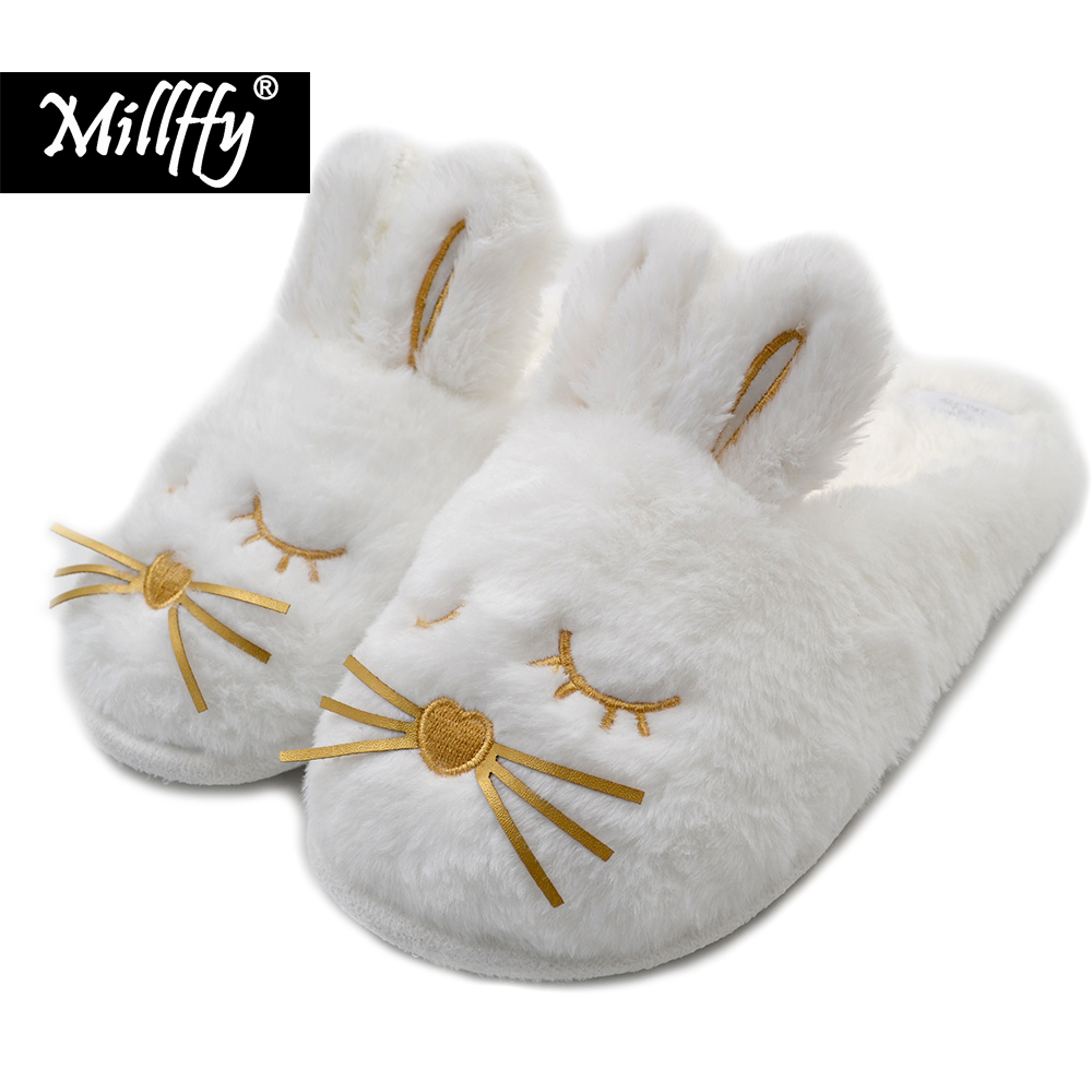 bc79337be Cute Bunny Fuzzy Slippers |Warm Animal Memory Foam Rabbit Plush |Women  Indoor Outdoor Bedroom Slippers