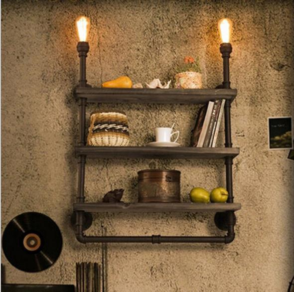 Retro Loft Shelf Wood Wrought Iron Pipe Wall Lights Edison E27 110V/220V Wall Lamp Luminaria for Cafe Bar Home Decoration rh style popular in europe and the creative mall stores chain cafe cafe booth bronzing wrought iron wall lamp