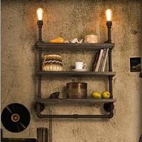 Retro Loft Shelf Wood Wrought Iron Pipe Wall Lights Edison E27 110V/220V Wall Lamp Luminaria for Cafe Bar Home Decoration