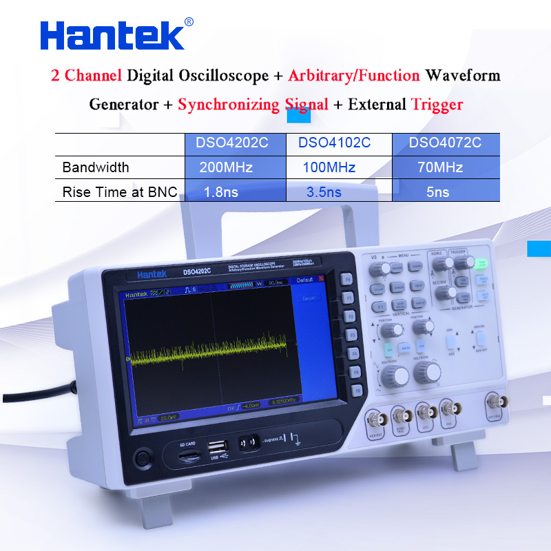 Hantek 2CH Digital storage Oscilloscope 70-200MHz Arbitrary/Function Waveform Generator Synchronizing Signal 1GS/s DSO4000C image