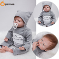 "[PCMOS] 22"" Vinyl Handmade Soft Touch Reborn Baby Doll Kids Toys w Cartoon Cat Design Jumpsuit Knit Hat Collection Gift 16092415"