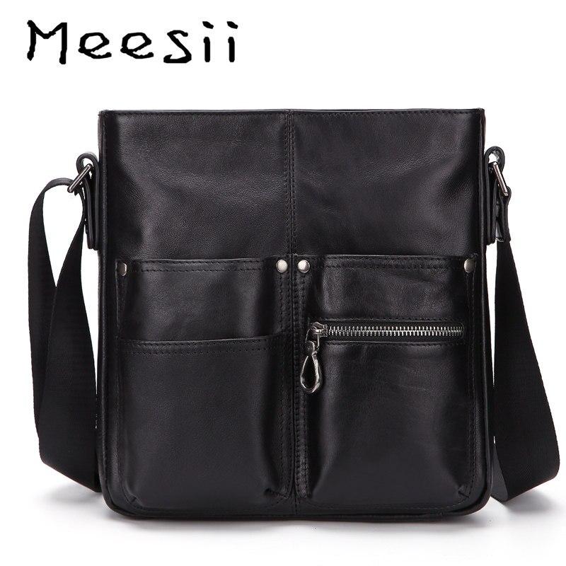 38f82461e869 Meesii Мужская сумка из натуральной кожи Маленькая повседневная мужская  сумка через плечо сумки для деловых людей