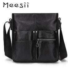Meesii Men Genuine Leather Messenger bag Small Casual Flap Male Cross-body Bags  Business Men Handbags Leisure Shoulder Bag недорого
