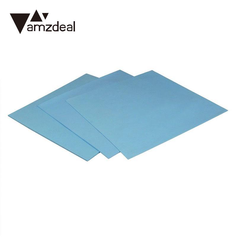 AMZDEAL 1PC 100x100x0.5mm/1mm/2mm Thermal Pad Durable Silicone High Conductive GPU CPU Heatsink Two Colors Optional