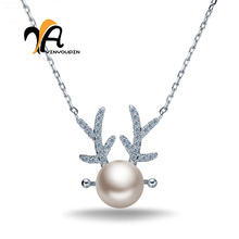 Фотография 2016 explosion models 925 sterling silver pearl pendant lovely antlers elegant necklace female factory direct wholesale
