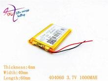 1 pcs [SD] 3.7 V, 1000 mAH, [404060] lithium Polymeer ion/Li Ion batterij voor SPEELGOED, POWER BANK, GPS, mp3, mp4, mobiele telefoon, luidspreker