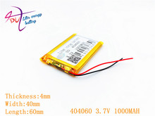 1 pcs [SD] 3.7 V, 1000 mAH, [404060] פולימר ליתיום יון/ליתיום סוללה עבור צעצוע, בנק כוח, GPS, mp3, mp4, טלפון סלולרי, רמקול