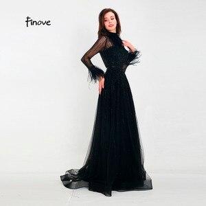 Image 2 - Finove ชุดราตรี 2020 สินค้าใหม่ Gorgeous สีดำ A Line ชุดแขนยาวขนคอสายยาวชุดอย่างเป็นทางการ
