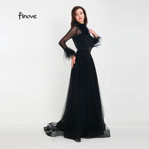 Image 2 - Finove Evening Dress 2020 New Arrivals Gorgeous Black A Line Gowns Full Sleeves Feathers Neck Line Floor Length Formal Dress